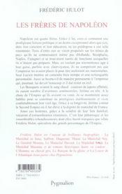 Les Freres De Napoleon - 4ème de couverture - Format classique