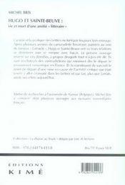 Hugo et sainte beuve ; vie et mort d'une amitié littéraire - 4ème de couverture - Format classique