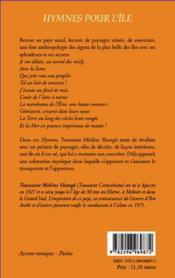 Hymnes pour l'île ; poèmes sur la Corse - 4ème de couverture - Format classique