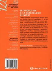 Introduction à la psychologie clinique (3e édition) - 4ème de couverture - Format classique