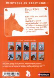 Le club des poneys t.9 ; doux rêve grandit - 4ème de couverture - Format classique