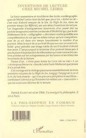 Inventions De Lecture Chez Michel Leiris - 4ème de couverture - Format classique