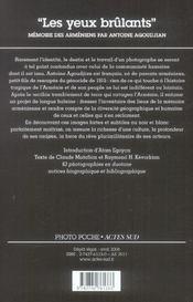 Les yeux brûlants ; mémoire des Arméniens par Antoine Agoudjian - 4ème de couverture - Format classique