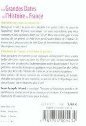 Le Petit Livre ; Les Grandes Dates De L'Histoire De France - 4ème de couverture - Format classique