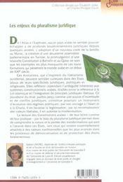 Les constitutions arabes et l'islam ; les enjeux du pluralisme juridique - 4ème de couverture - Format classique