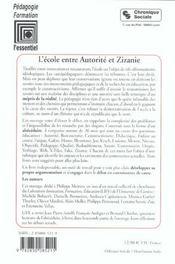 Ecole Entre Autorite Et Zizanie - 4ème de couverture - Format classique