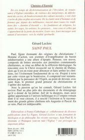 Saint Paul - 4ème de couverture - Format classique