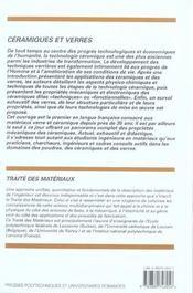 Ceramiques Et Verres-Traite Des Materiaux Vol 16 - 4ème de couverture - Format classique