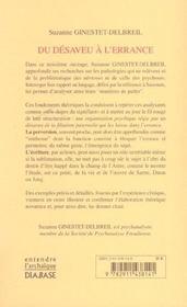 Du Desaveu A L'Errance : Un Prealable A La Perversion Et A D'Autres Phenomenes - 4ème de couverture - Format classique