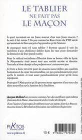Le tablier ne fait pas le maçon ; l'idéal maçonnique en question - 4ème de couverture - Format classique