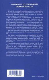 L'Individu Et Les Performances Organisationnelles - 4ème de couverture - Format classique