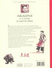Melilotus et le mystere de goutte-seche - 4ème de couverture - Format classique
