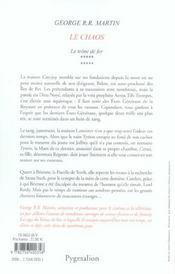 Le trône de fer t.10 ; le chaos - 4ème de couverture - Format classique