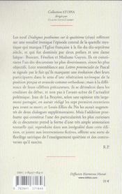 Dialogues posthumes sur le quiétisme - 4ème de couverture - Format classique