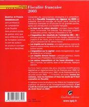 Fiscalite Francaise 2003 - 4ème de couverture - Format classique