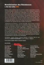 Mondialisation des resistances - 4ème de couverture - Format classique