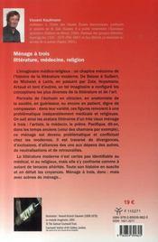 Ménage à trois ; littérature, médecine, religion - 4ème de couverture - Format classique