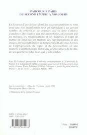 Parcourir Paris Du Second Empire A Nos Jours - 4ème de couverture - Format classique