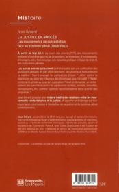 La justice en procès ; les mouvements de contestation face au système pénal (1968-1983) - 4ème de couverture - Format classique