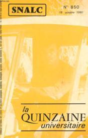 La Quinzaine Universitaire N°850 - Couverture - Format classique