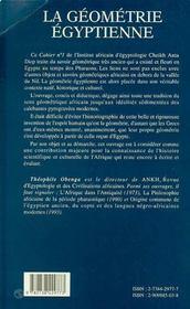 La Geometrie Egyptienne ; Contribution De L'Afrique Antique A La Mathematique Mondiale - 4ème de couverture - Format classique