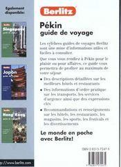 Guide De Voyage ; Pekin - 4ème de couverture - Format classique