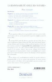 Responsabilite civile des notaires (la) - 4ème de couverture - Format classique