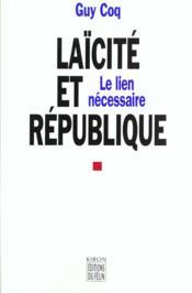 Laicite Et Republique - Couverture - Format classique