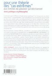 Pour une théorie des cas extrêmes aux limites du pouvoir juridictionnel ; droit, politique et philosophie - 4ème de couverture - Format classique
