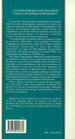 L'Action Publique Volontariste ; Analyse D'Une Politique De Delocalisation - 4ème de couverture - Format classique
