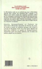 La Revolution Rurale Dans La France Contemporaine, Xviii-Xx Siecle - 4ème de couverture - Format classique