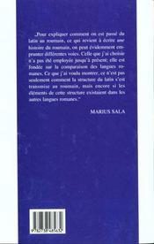 Du Latin Au Roumain - 4ème de couverture - Format classique