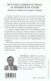 De L'Ange Gardien Du Franc Au Batisseur De L'Euro ; Histoire Et Evolution Des Banques Centrales - 4ème de couverture - Format classique