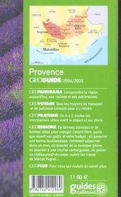 Geoguide ; Provence (Edition 2004) - 4ème de couverture - Format classique