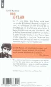 Bob Dylan ; à la croisée des chemins - 4ème de couverture - Format classique