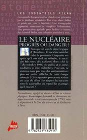 Le nucleaire progres ou danger - 4ème de couverture - Format classique