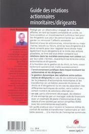 Guide Des Relations Actionnaires Minoritaires - 4ème de couverture - Format classique