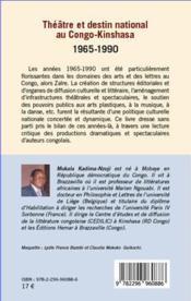 Théâtre et destin national au Congo-Kinshasa 1965-1990 - 4ème de couverture - Format classique