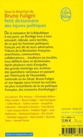Petit dictionnaire des injures politiques - 4ème de couverture - Format classique
