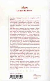 Marc Le Lion Du Desert - 4ème de couverture - Format classique