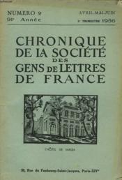 CHRONIQUE DE LA SOCIETE DES GENS DE LETTRES DE FRANCE N°2, 91e ANNEE ( 2e TRIMESTRE 1956) - Couverture - Format classique