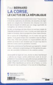 La Corse ; le cactus de la République - 4ème de couverture - Format classique
