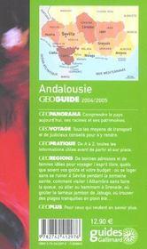 Andalousie (édition 2004) - 4ème de couverture - Format classique