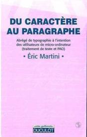 Du caractère au paragraphe - Couverture - Format classique
