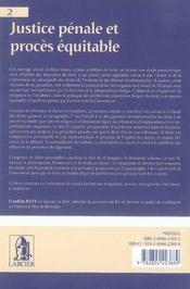 Justice pénale et procès équitable t.2 - 4ème de couverture - Format classique