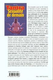 Tantra. Sexualite De Demain - 4ème de couverture - Format classique