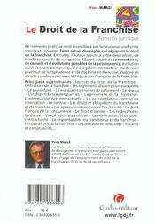 Memento pratique du droit de la franchise - 4ème de couverture - Format classique