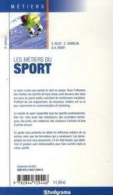Les métiers du sport (5e édition) - 4ème de couverture - Format classique