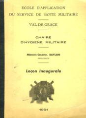 Chaire D'Hygiene Militaire. Lecon Inaugurale. - Couverture - Format classique