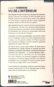 Vu de l'intérieur ; les ministres racontent les dessous de la place Beauvau - 4ème de couverture - Format classique